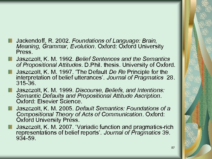 Jackendoff, R. 2002. Foundations of Language: Brain, Meaning, Grammar, Evolution. Oxford: Oxford University Press.
