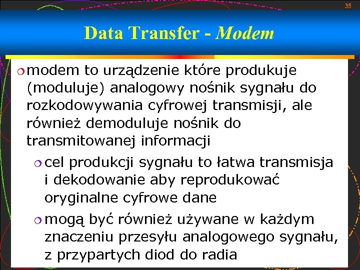 35 Data Transfer - Modem modem to urządzenie które produkuje (moduluje) analogowy nośnik sygnału