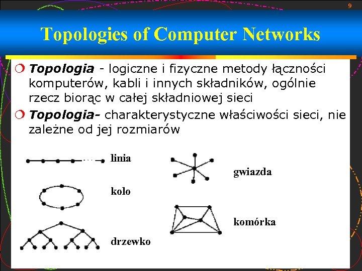 9 Topologies of Computer Networks Topologia - logiczne i fizyczne metody łączności komputerów, kabli