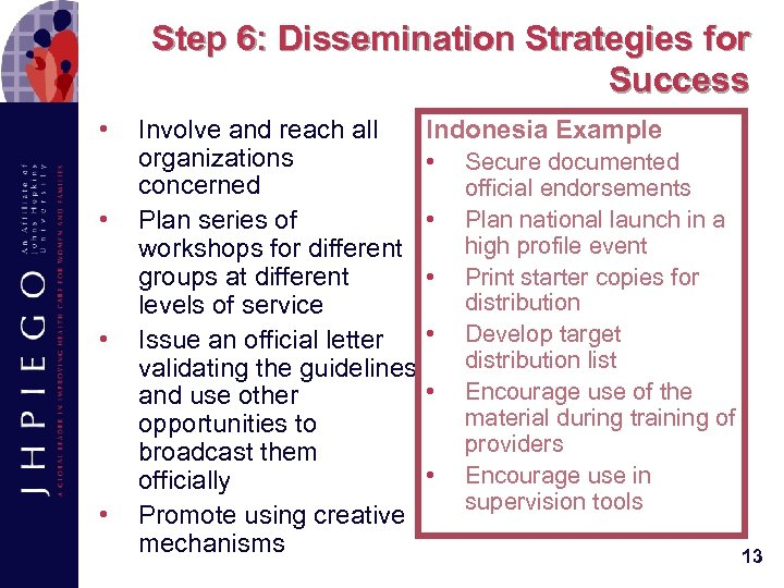 Step 6: Dissemination Strategies for Success • • Involve and reach all organizations concerned