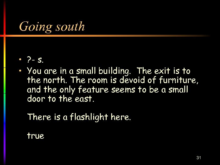 Going south • ? - s. • You are in a small building. The
