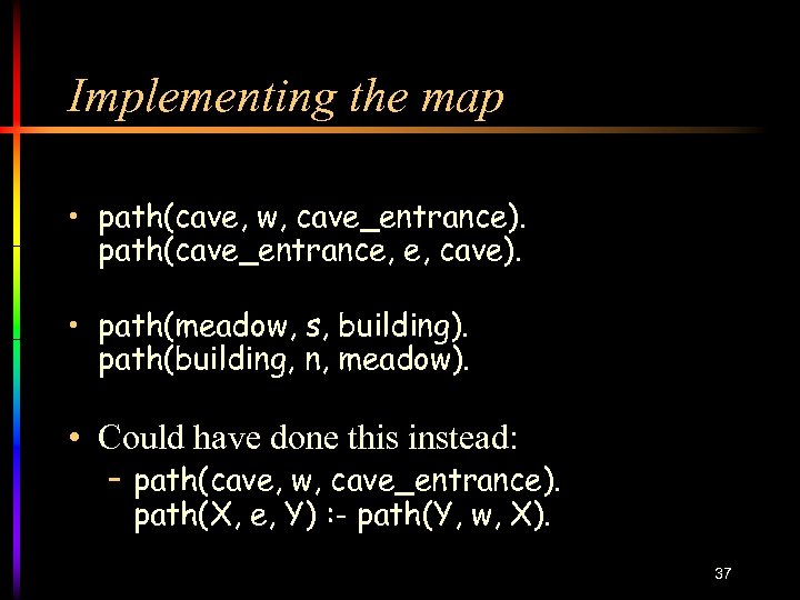 Implementing the map • path(cave, w, cave_entrance). path(cave_entrance, e, cave). • path(meadow, s, building).