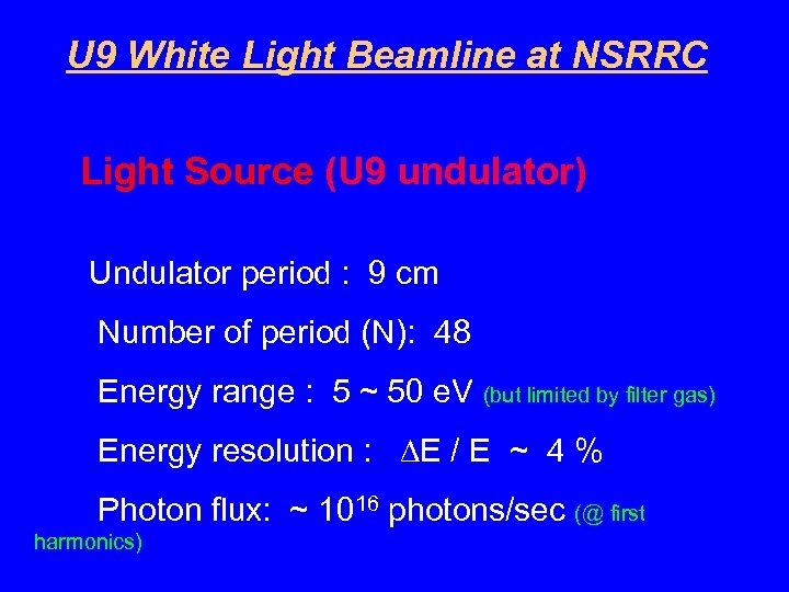 U 9 White Light Beamline at NSRRC Light Source (U 9 undulator) Undulator period