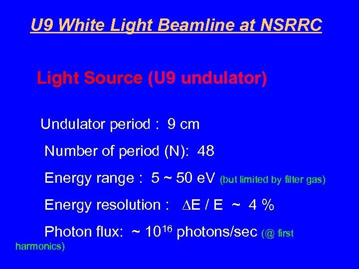 U 9 White Light Beamline at NSRRC Light Source (U 9 undulator) Undulator period