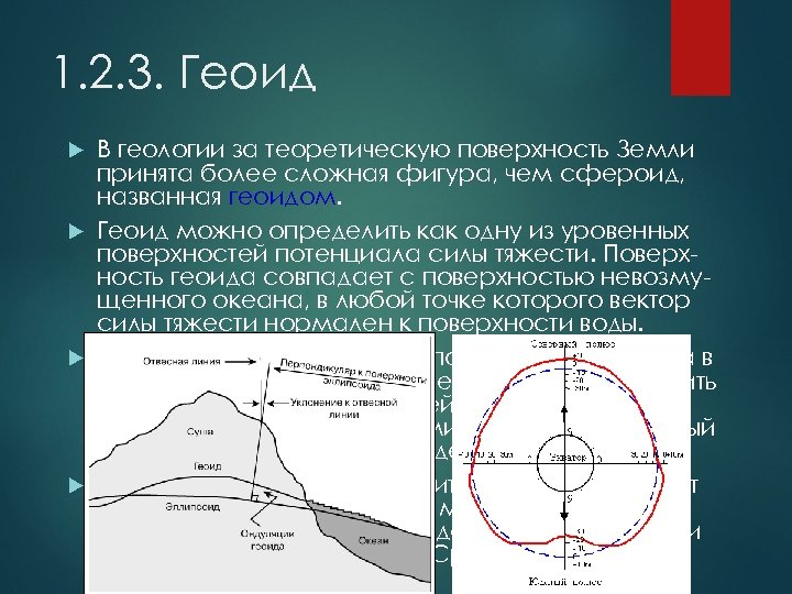 1. 2. 3. Геоид В геологии за теоретическую поверхность Земли принята более сложная фигура,