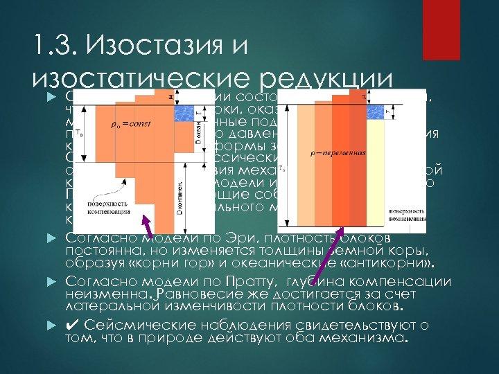 1. 3. Изостазия и изостатические редукции Суть теории изостазии состоит в предположении, что вертикальные