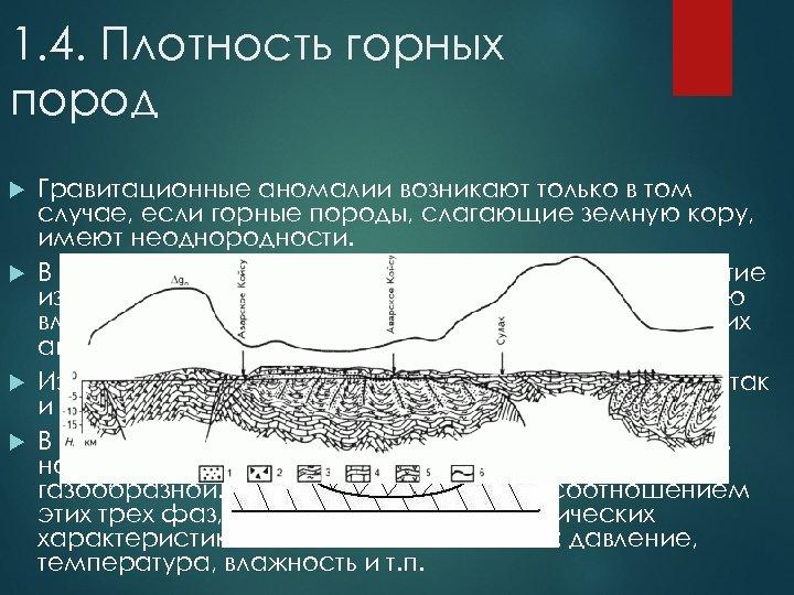 1. 4. Плотность горных пород Гравитационные аномалии возникают только в том случае, если горные