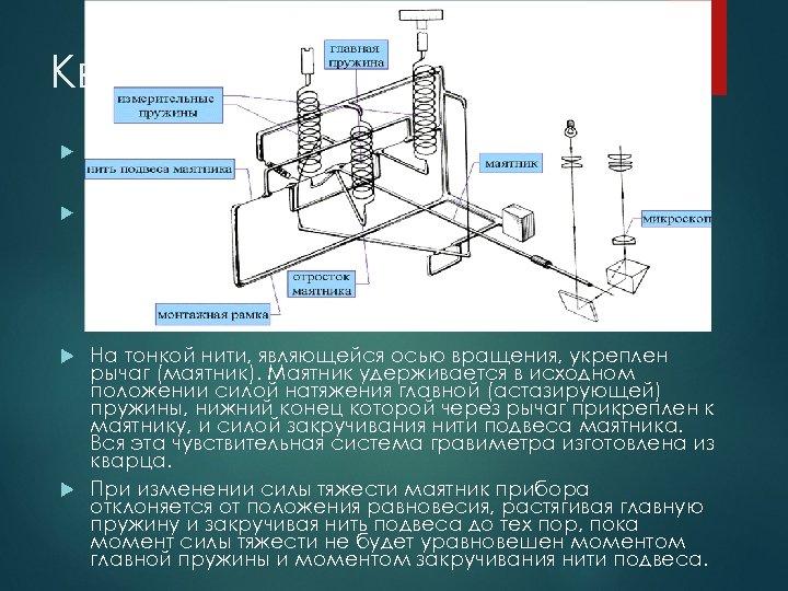 Кварцевые гравиметры Наиболее широкое применение получили гравиметры второго рода, упругая система которых изготовлена из