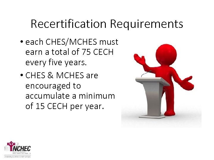 Recertification Requirements • each CHES/MCHES must earn a total of 75 CECH every five