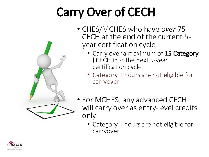 Carry Over of CECH • CHES/MCHES who have over 75 CECH at the end
