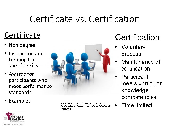 Certificate vs. Certification Certificate • Non degree • Instruction and training for specific skills