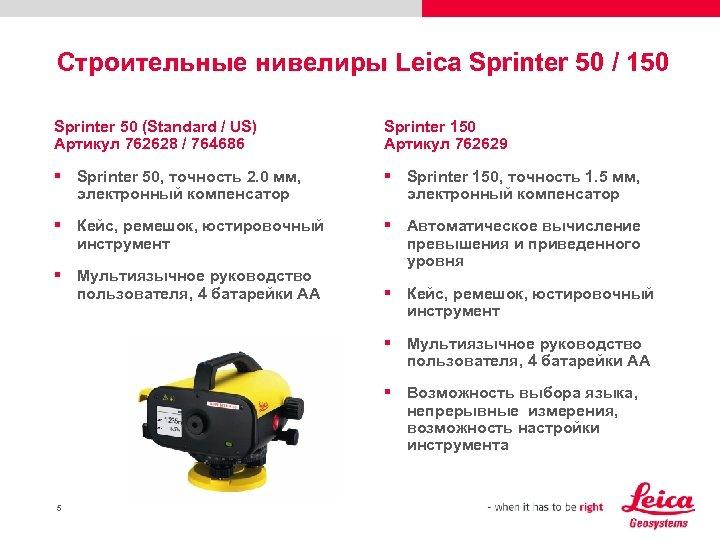 Строительные нивелиры Leica Sprinter 50 / 150 Sprinter 50 (Standard / US) Артикул 762628