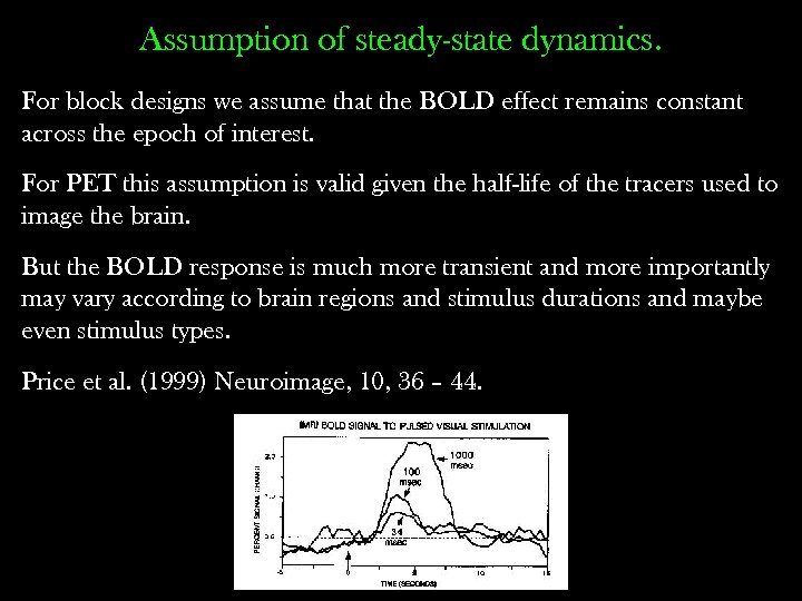 Assumption of steady-state dynamics. For block designs we assume that the BOLD effect remains