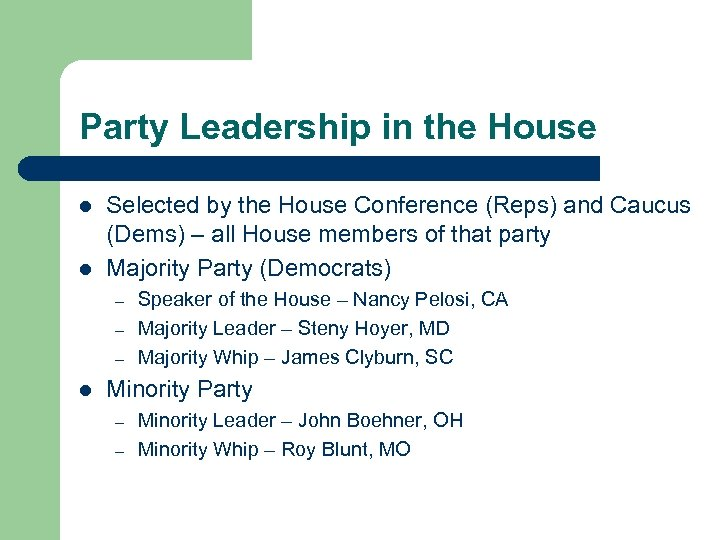 Party Leadership in the House l l Selected by the House Conference (Reps) and