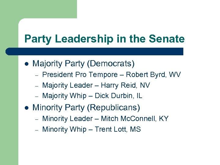 Party Leadership in the Senate l Majority Party (Democrats) – – – l President