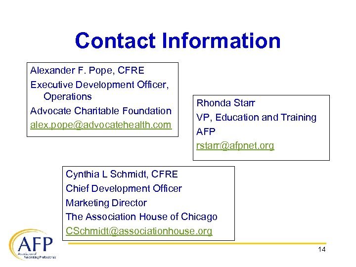 Contact Information Alexander F. Pope, CFRE Executive Development Officer, Operations Advocate Charitable Foundation alex.