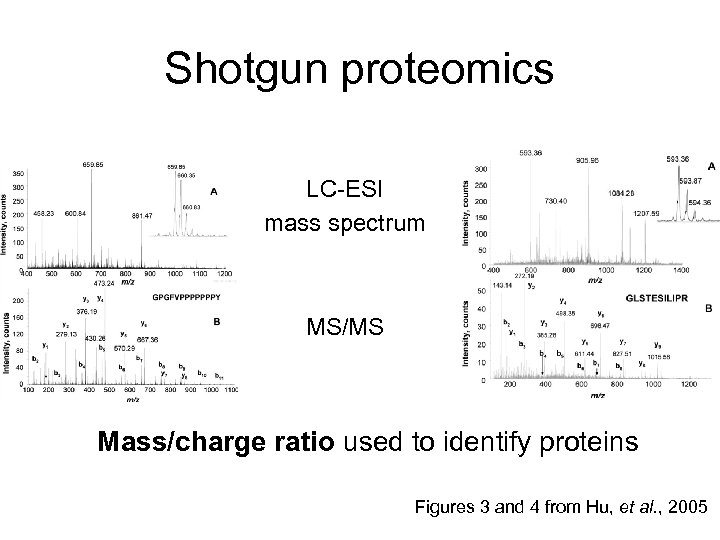Shotgun proteomics LC-ESI mass spectrum MS/MS Mass/charge ratio used to identify proteins Figures 3