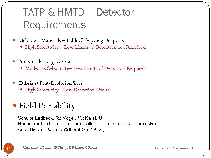 TATP & HMTD – Detector Requirements Unknown Materials – Public Safety, e. g. Airports