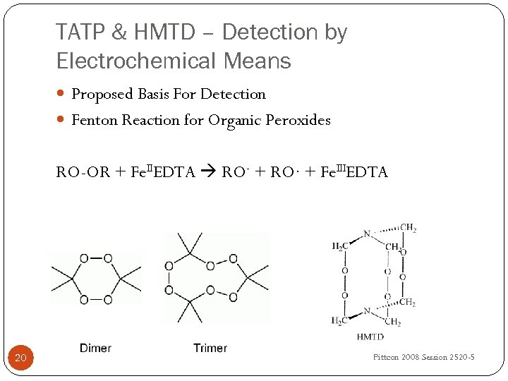 TATP & HMTD – Detection by Electrochemical Means Proposed Basis For Detection Fenton Reaction