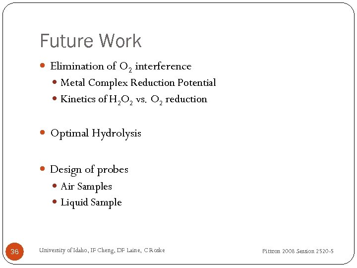 Future Work Elimination of O 2 interference Metal Complex Reduction Potential Kinetics of H