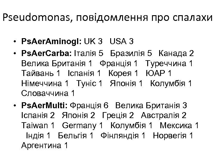 Pseudomonas, повідомлення про спалахи • Ps. Aer. Aminogl: UK 3 USA 3 • Ps.