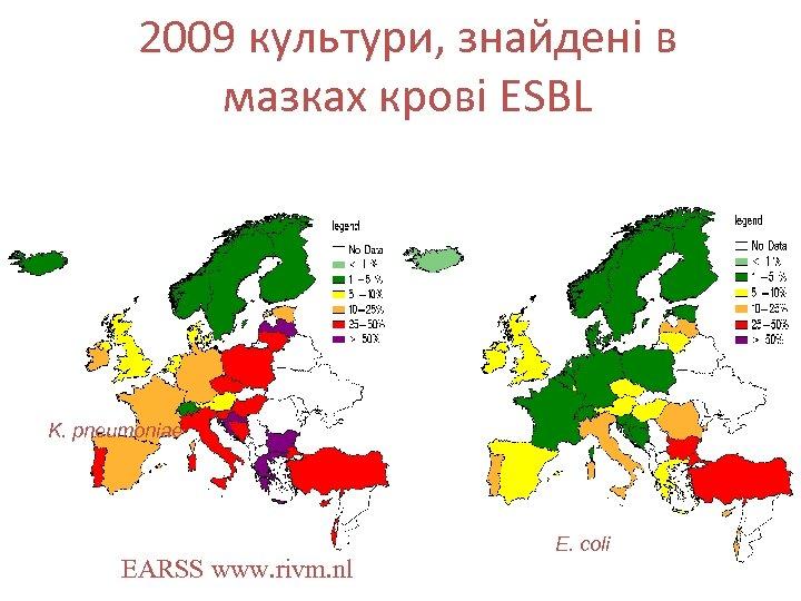 2009 культури, знайдені в мазках крові ESBL K. pneumoniae EARSS www. rivm. nl E.