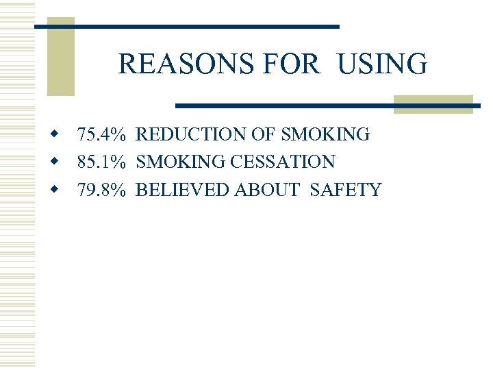 REASONS FOR USING w 75. 4% REDUCTION OF SMOKING w 85. 1% SMOKING CESSATION