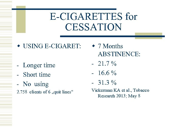 E-CIGARETTES for CESSATION w USING E-CIGARET: - Longer time - Short time - No