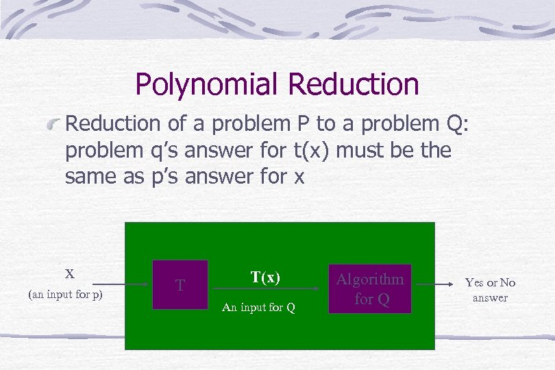 Polynomial Reduction of a problem P to a problem Q: problem q's answer for