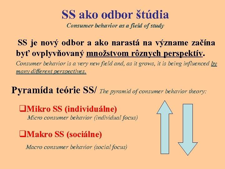 SS ako odbor štúdia Consumer behavior as a field of study SS je nový