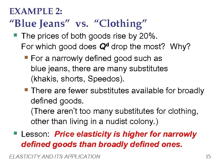 """EXAMPLE 2: """"Blue Jeans"""" vs. """"Clothing"""" § The prices of both goods rise by"""