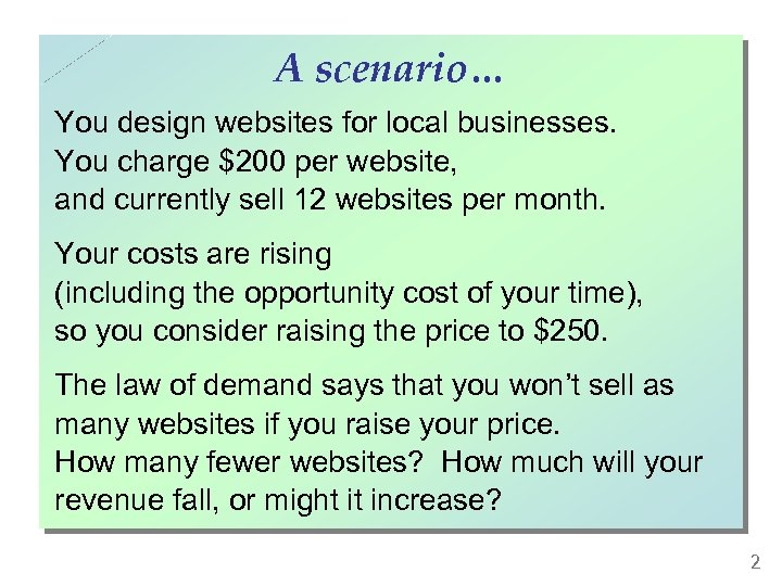 A scenario… You design websites for local businesses. You charge $200 per website, and