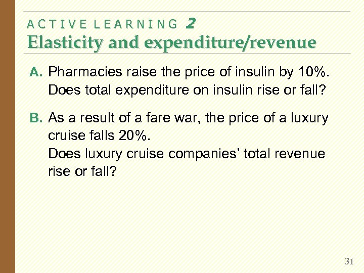 ACTIVE LEARNING 2 Elasticity and expenditure/revenue A. Pharmacies raise the price of insulin by