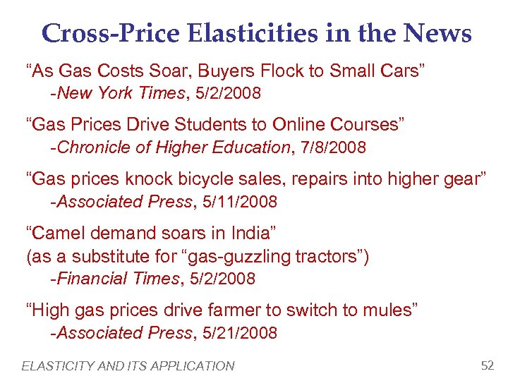 """Cross-Price Elasticities in the News """"As Gas Costs Soar, Buyers Flock to Small Cars"""""""