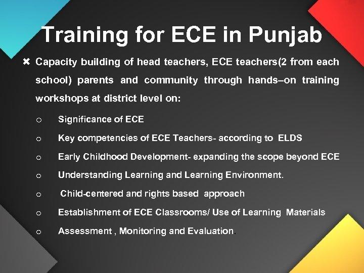 Training for ECE in Punjab Capacity building of head teachers, ECE teachers(2 from each