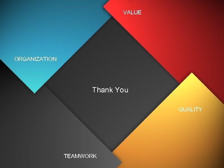 VALUE ORGANIZATION Thank You QUALITY TEAMWORK
