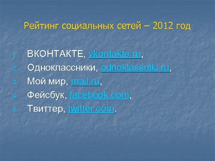 Рейтинг социальных сетей – 2012 год 1. 2. 3. 4. 5. ВКОНТАКТЕ, vkontakte. ru,