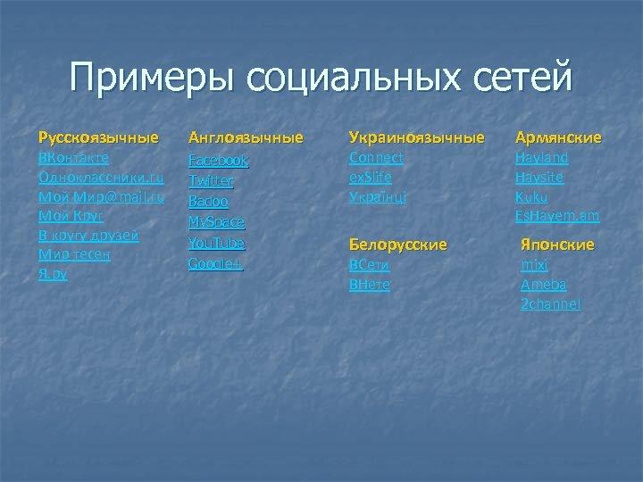 Примеры социальных сетей Русскоязычные ВКонтакте Одноклассники. ru Мой Мир@mail. ru Мой Круг В кругу