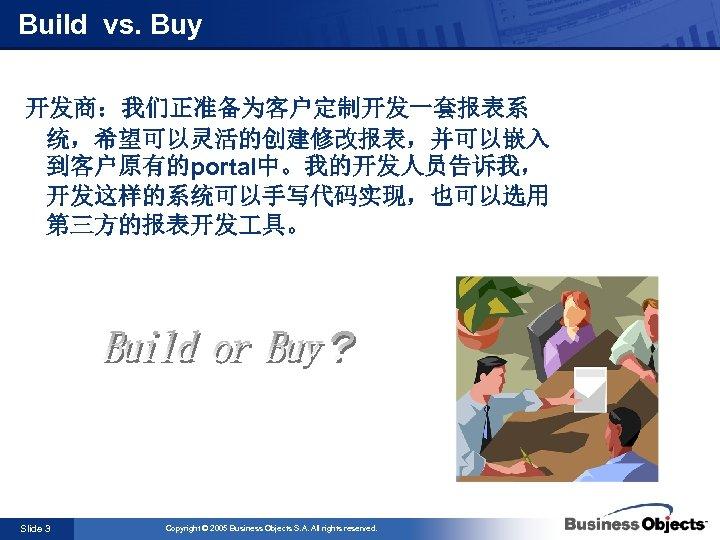 Build vs. Buy 开发商:我们正准备为客户定制开发一套报表系 统,希望可以灵活的创建修改报表,并可以嵌入 到客户原有的portal中。我的开发人员告诉我, 开发这样的系统可以手写代码实现,也可以选用 第三方的报表开发 具。 Slide 3 Copyright © 2005
