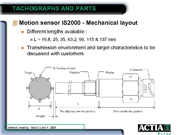 TACHOGRAPHS AND PARTS 4 Motion sensor IS 2000 - Mechanical layout n Different lengths