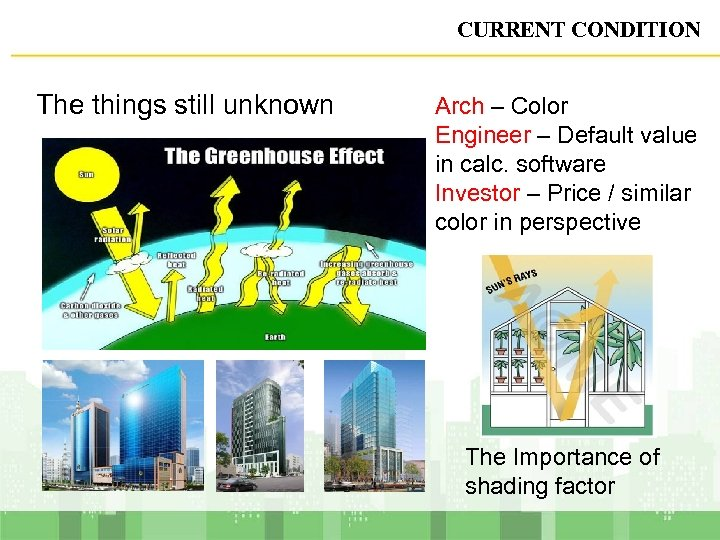 CURRENT CONDITION The things still unknown Arch – Color Engineer – Default value in