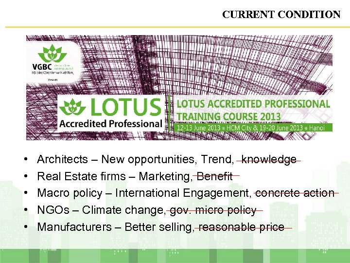 CURRENT CONDITION • • • Architects – New opportunities, Trend, knowledge Real Estate firms