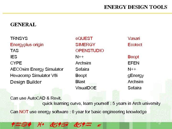 ENERGY DESIGN TOOLS GENERAL TRNSYS Energyplus origin TAS IES CYPE AECOsim Energy Simulator Hevacomp
