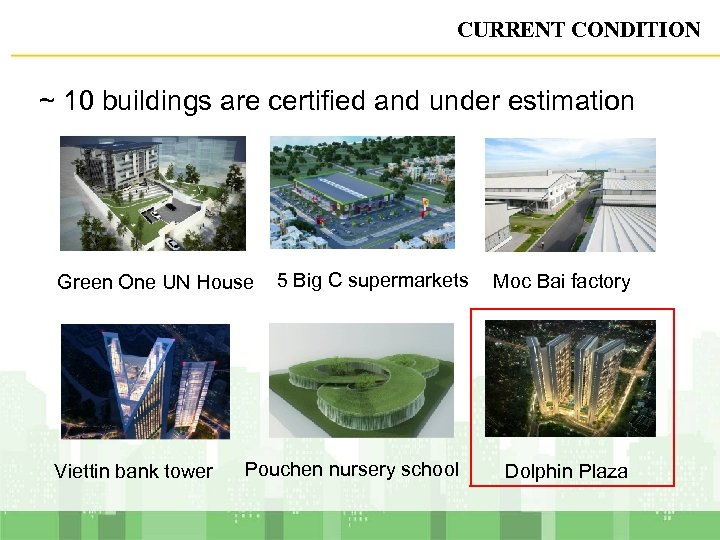CURRENT CONDITION ~ 10 buildings are certified and under estimation Green One UN House