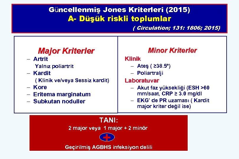 Güncellenmiş Jones Kriterleri (2015) A- Düşük riskli toplumlar ( Circulation; 131: 1806; 2015) Major