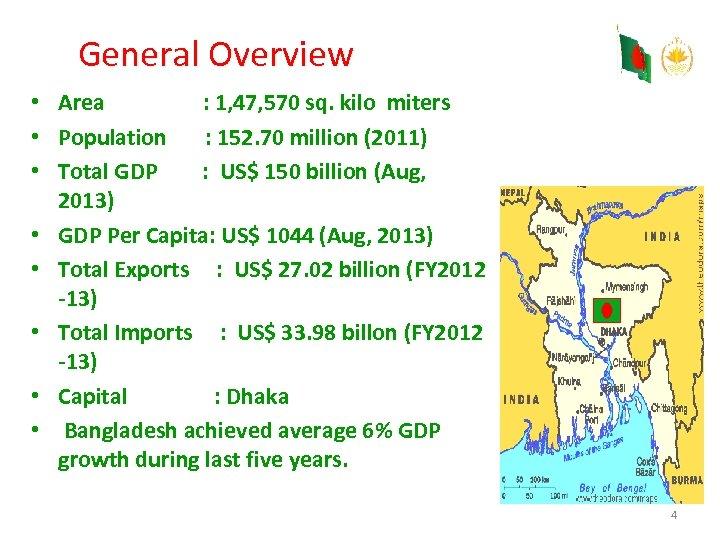 General Overview • Area : 1, 47, 570 sq. kilo miters • Population :