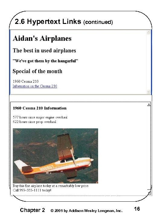 2. 6 Hypertext Links (continued) Chapter 2 © 2005 by Addison Wesley Longman, Inc.
