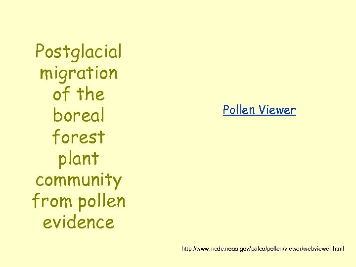 Postglacial migration of the boreal forest plant community from pollen evidence Pollen Viewer http: