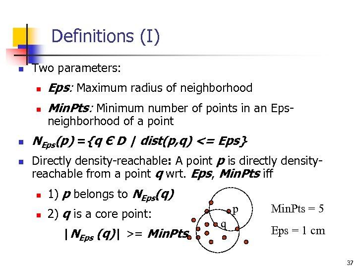 Definitions (I) n Two parameters: n n Eps: Maximum radius of neighborhood Min. Pts: