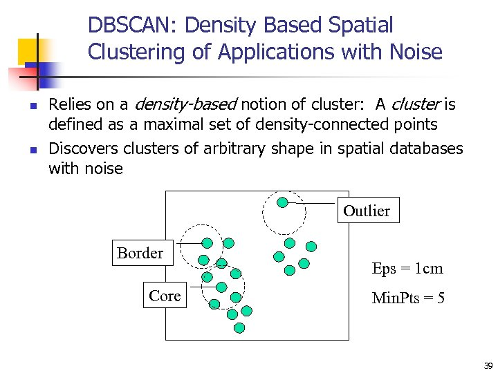 DBSCAN: Density Based Spatial Clustering of Applications with Noise n n Relies on a